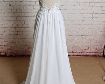 Backless Ivory Chiffon A Line Wedding Dress with Spaghetti Straps