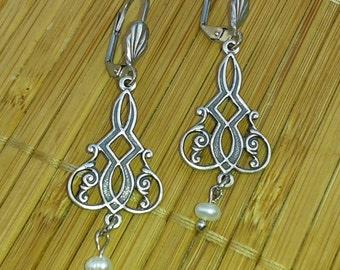 Pearl Art Nouveau Drop Earrings - silver plated filigree natural freshwater pearl bridal
