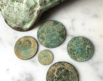 1800s antique French francs, 19th century French coins ~ group of five