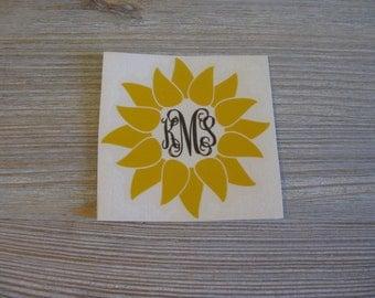 Sunflower Monogram Car Decal - Monogram Sunflower Car Decal - Monogram Car Decal - Monogram Decal - Car Decal - Sunflower Decal - Monogram