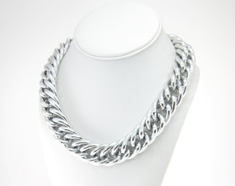 Vintage Anne Klein Necklace, Chain Link, Silver Tone, Signed, Chunky Chain