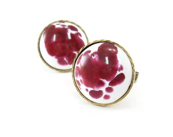 Vintage Porcelain Cuff Links, Pink, White, Round, Silver Gold Tone, Made in Korea