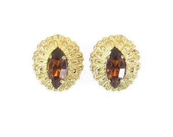 Vintage Brown Rhinestone Earrings, Navette, Cat Eyes, Filigree, Gold Tone, Clip Ons
