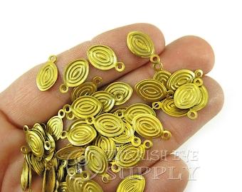 200 Pcs 13x7mm Raw Brass Oval Charms, Raw Brass Jewelry Findings