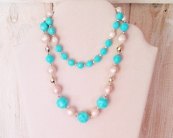 Vintage Turquoise Silver and White Beaded Necklace - 28 inch