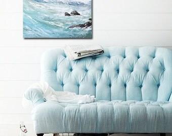 "Ocean Painting Art Acrylic Original // ""Reckless"" 20 x 20"" on Canvas"