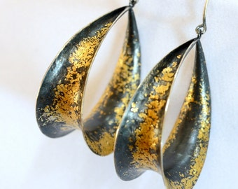 Gold and Silver Hoop Earrings Handmade by Jenn Dixon Jewelry