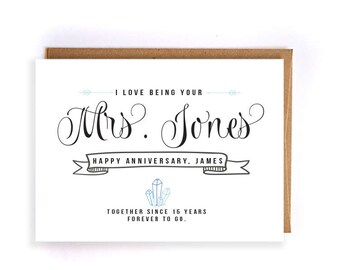 Custom name 15 year anniversary cards for him, crystal anniversary card, handmade greeting cards for husband, anniversary gift for him GC83