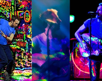 Sticker 3 Pack of Mylo Xyloto Era Chris Martin of Coldplay in Neon, Pop Art Digital Paintings