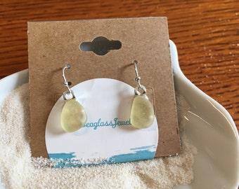 Rare Yellow Sea glass Earrings Sterling silver- ER105