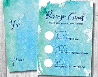 Wedding Instant Printable RSVP card | Printable Watercolor Wedding RSVP | Instant Download Invite | Wedding RSVP