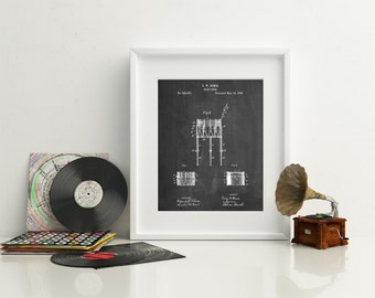 Bemis Marching Snare Drum and Stand Patent Poster, Drummer Gift, Antique Drum, Percussion, Musician, Music Wall Art, PP0732