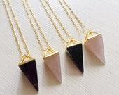 Rose Quartz Necklace, Rose Quartz Pyramid Necklace, crystal necklace, Amethyst Necklace, Amethyst, Rose Quartz, Stone Triangle necklace,