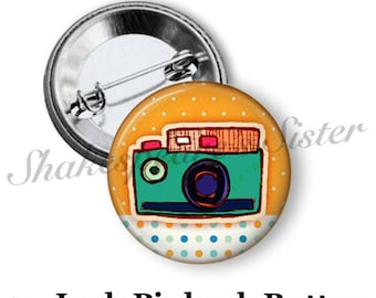 "Camera Pinback Button - 1.5"" Pinback - Camera Pin - Cute Pinback Button - Gift for Photographer"