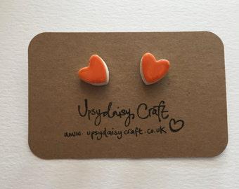 Ceramic heart stud earrings - Medium - Orange, Yellow, Pink, White, Purple