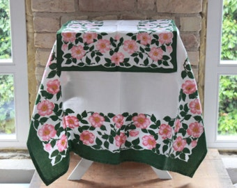 Vintage tablecloth set with roses, table linen pink roses summer cottage style