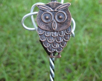 Black and Silver Hair Stick with Owl Dangle