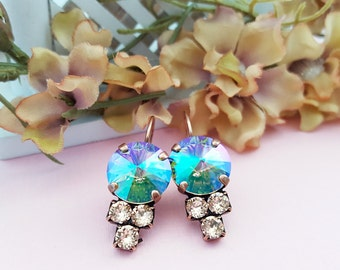 Iridescent, Aqua Turquoise Earrings, Peach Earrings, Copper Earring, Swarovski, Mermaid, Aqua Blue Earring, Rainbow, Multicolor, E3944