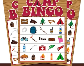 Pink Camping Party Bingo Cards