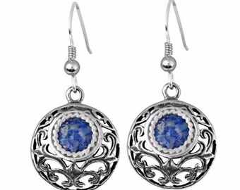 Small Sterling Silver Ancient Blue Roman Glass Round Dangle Earrings