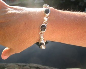 Black Onyx and Sterling Silver Link Bracelet