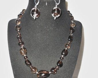 """Smoky Quartz (250 ctw) Gem Stone 18"""" Necklace Earring Set"""
