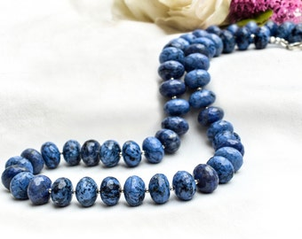 Natural dumortierite necklace with 925 sterling silver *Free worldwide shipping*