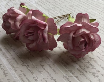 Lilac Rose Flower Hair Pins - Set of 3