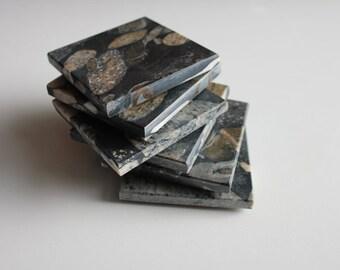 "Stone Coasters Set Of Six From Natural Stone Granite ""Marinace Black"""