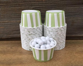 Green Paper Snack Cups - Set of 48 - Stripe Candy Cup - Birthday Party - Mini Ice Cream Cups - Olive Paper Nut Cup - Same Day Shipping