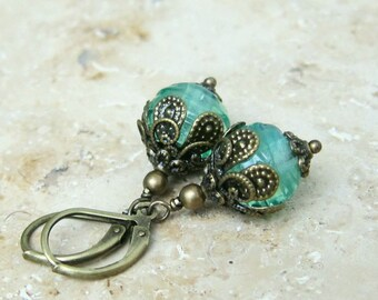 Vintage style earrings handmade beaded peacock green bronze