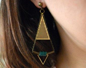 Earrings ISIA triangle, geometrical, art deco
