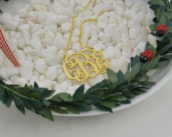 18K gold Monogram necklace - 1 inch - 925 Sterling silver plated 18K gold- Initial Pendant necklace