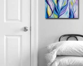 Large Canvas print, abstract print, unique wall art, Violet canvas, floral print, oil painting, gift idea, giclee, modern art, Vaught
