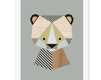 Bear Nursery Art, Baby Bear, Nursery art, nursery decor, kidsroom art, kids wall art, wall art, kids art, bear print.