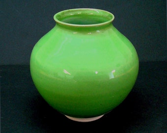 Green vase, handmade vase, ceramic vase, porcelain vase, flower vase, high fired