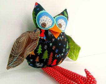 Owl doll, Red riding hood owl, Cloth owl, Owl decoration, Stuffed animal owl, Fabric owl toy, Black red green owl, Owl girl softie, Hoot owl