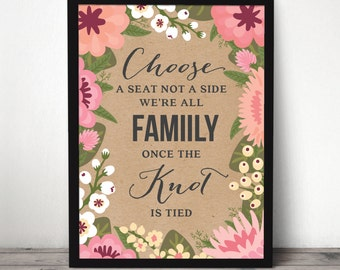 """Instant Download - 18"""" x 24"""" Modern Floral Wedding Seating Sign - Wedding Welcome Sign - Pick A Seat Not A Side -  Garden Wedding Sign"""