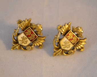 Vintage Enameled Gold Tone Shield Coat of Arms With Golden Lions Screw Back Earrings