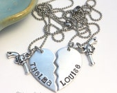 Thelma and Louise Best Friends Broken Heart ~ Hand Stamped Necklace Set ~ BFF Jewelry ~ Gun Charm ~ Partner in Crime ~ You're my person