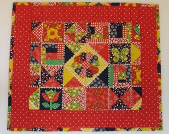 "Doll Quilt, 16"" x 18.5"", Mini Quilt, Red, Patchwork Print Quilt"