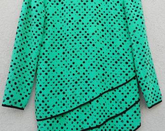 80's mint/black geo print asymmetrical tunic!