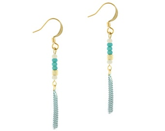 NEW / / «Tribal» turquoise earrings / / done in Abitibi / / made in Quebec / / Ms Elyse