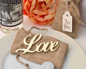 Wedding Favor Gold Love Bottle Opener with Burlap Bag