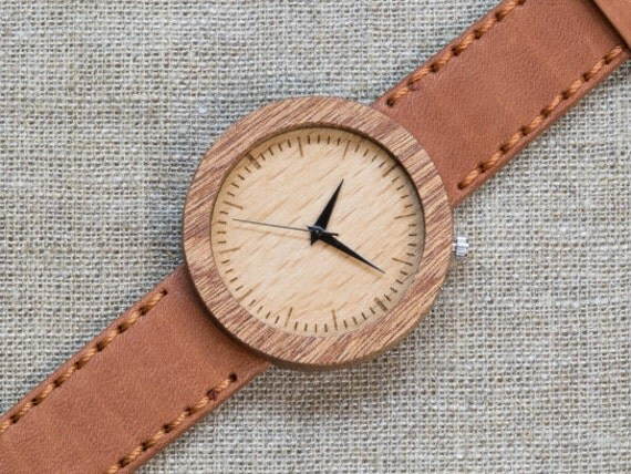 African Sapele minimal wood watch , Majestic Watch, Terracotta Genuine Leather strap + Any Engraving / Gift Box. Anniversary  gift