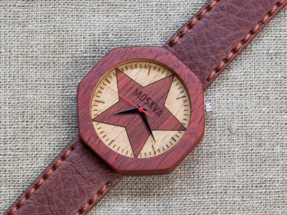 African Padauk minimal wood watch , Majestic Watch, Burgundy Red  Genuine Leather strap + Any Engraving / Gift Box. Anniversary  gift