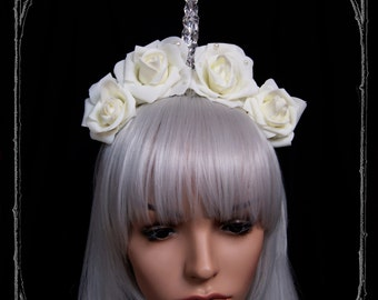 Crystal Unicorn Fascinator ( headdress, white, fantasy, burlesque, costume, fairy, bride, headpiece )