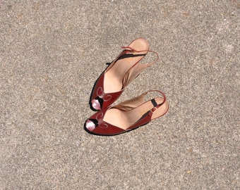 70s peeptoe sandals / 1970s slingback sandals / burgundy leather sandals 9
