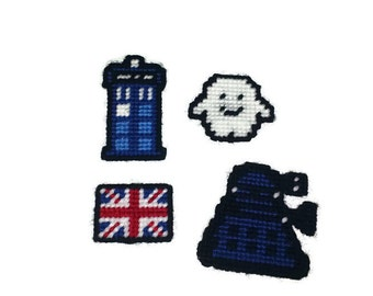 Doctor Who magnets set of 4 plastic canvas Ready to Ship!!