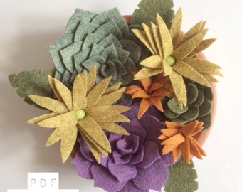 PDF tutorial: DIY felt autumn/fall succulent garden (no sew!)